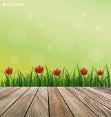 Natural background. Fresh spring green grass with red flower and wood floor. Vector illustration.