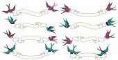foto of swallow  - Retro or Vintage Swallows Flying with Banners Vector Set - JPG