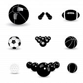 Concept Vector Graphic- Black & White Sports Balls Icons(symbols)