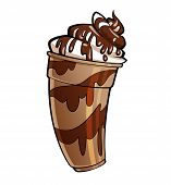 Cartoon Glossy Chocolate Milkshake