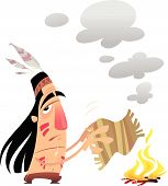 Cartoon Indian Man Sending A Message With Smoke Signals