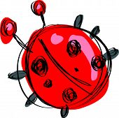 pic of ladybug  - Cartoon red baby ladybug with black dots in a naif childish drawing style - JPG