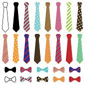 stock photo of black tie  - Set of Vector Ties and Bow Ties - JPG