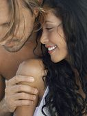 stock photo of heterosexual couple  - Closeup of romantic young couple spending time together - JPG