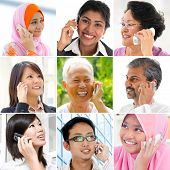 People talking on the phone. Collage made of nine pictures of diversity races. Asian communication c
