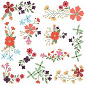 picture of cluster  - Vector Set of Vintage Style Flower Clusters - JPG