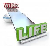 stock photo of greater  - The words Work and Life on a see - JPG