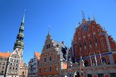 House of the Blackheads and St. Peter's Church. Riga, Latvia
