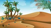 Illustration of a desert with palm trees