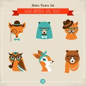 stock photo of mustache  - Cute fashion Hipster Animals  - JPG