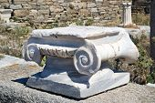 Ionian Column Capital, Architectural Detail On Delos Island, Greece