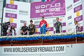 MOSCOW - JUNE 23: Awarding of the winners of Formula Renault 2.0 race at World Series by Renault in Moscow Raceway on June 23, 2013 in Moscow