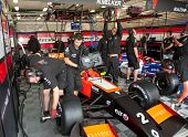 MOSCOW - JUNE 23: Mechanics prepare formula car for Formula Renault 2.0 race at World Series by Rena