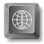 Globe. Vector computer key.