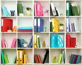 foto of racks  - White office shelves with different stationery - JPG