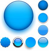 Set of blank blue round buttons for website or app. Vector eps10.