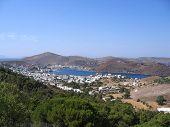 View Of The Greek City, Sea And Mountains.