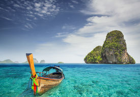 pic of nic  - Railay beach in Krabi Thailand with boat - JPG