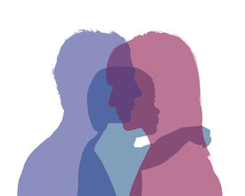 picture of superimpose  - superimposed colorful silhouettes of young parents and their little child between them symbol of young family - JPG