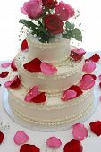 Wedding Cake With Rose Petals poster