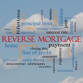 Reverse Mortgage Word Cloud Concept On A Cloud Background