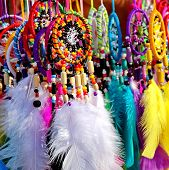 pic of dreamcatcher  - Native American colorful dreamcatchers on artisan market