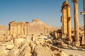 picture of zenobia  - Ibn Maan fortress with Palmyra ruins in Syria  - JPG