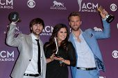 Charles Kelley, Hillary Scott, Dave Haywood at the 47th Academy Of Country Music Awards Press Room,