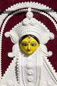 picture of durga  - goddess durga with white carving statue in fair - JPG