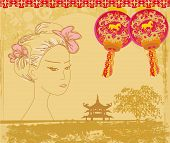 foto of geisha  - abstract Asian Landscape and beautiful geisha  - JPG