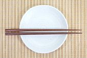 Chopsticks in asian set table