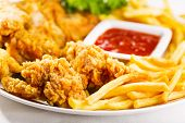 stock photo of southern fried chicken  - fried chicken with fries on a plate - JPG