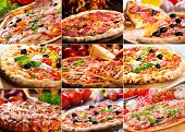 image of basil leaves  - collage of various pizza with salami - JPG