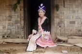 foto of hmong  - Asian woman Laos in traditional clothes Hmong in a Hmong village near Vang Vieng - JPG