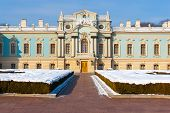 stock photo of kiev  - The Mariinsky palace in Kiev during winter with snow - JPG