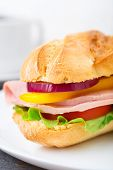 stock photo of baguette  - Baguette sandwich with ham - JPG