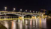 Wettsteinbrucke Over The Rhine In Basel By Night