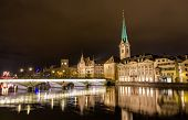 image of zurich  - Old town of Zurich at night - Switzerland