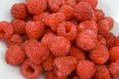 Raspberries In White Bowl