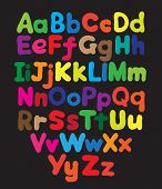 stock photo of freehand drawing  - Alphabet bubble colored hand drawing in black background - JPG