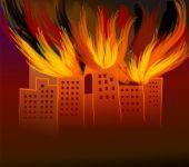 burning tall  building