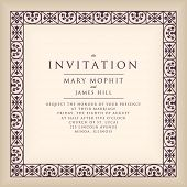 Invitation with border frame in Renaissance style. Template framework Wedding invitations or announcements with vintage background artwork