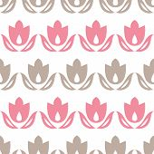 Pink and brown tulips stripes seamless pattern background