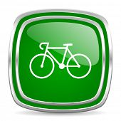 bicycle glossy computer icon on white background