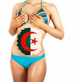 Beautiful female closeup with algeria flag