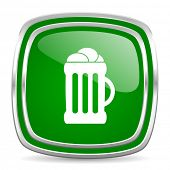 beer glossy computer icon on white background