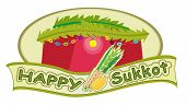 stock photo of sukkot  - Sukkot banner with sukkah in the background - JPG