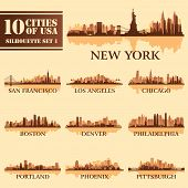 Silhouette City Set Of Usa