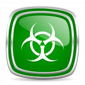biohazard glossy computer icon on white background