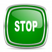 stop glossy computer icon on white background